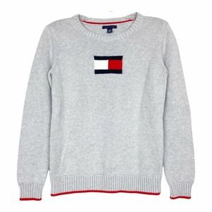 Tommy Hilfiger gray flag graphic crewneck sweater